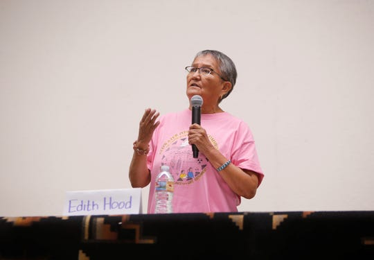 Edith Hood, member of the Red Water Pond Road Community Association, talks about the 1979 uranium mill spill in Church Rock. She made her comments at the Oct. 2 forum about the legacy of uranium mining on the Navajo Nation at the Department of Diné Education in Window Rock, Arizona.