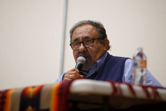 U.S. Rep. Raúl Grijalva addresses the audience before the start of the Oct. 2 forum about uranium mining's legacy on the Navajo Nation at the Department of Diné Education in Window Rock, Arizona.
