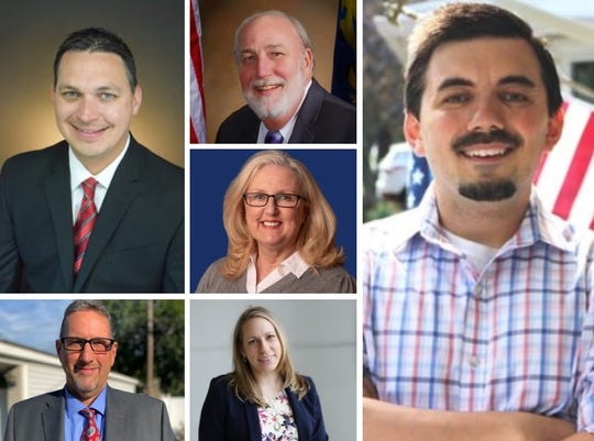 Westland City Council candidates include, from top to bottom, Michael Londeau and Michael Delph in the left column; James Godbout, Debra Kehrer and Andrea Rutkowski in the middle column; and Mike McDermott in the right column.