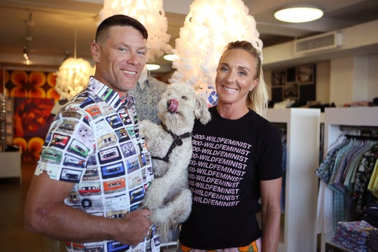 Wil Stiles and Molly Bondhus, the husband and wife team behind the Wil Stiles clothing store, made a substantial clothing donation to Revivals, which benefits Desert AIDS Project. The couple is photographed with their rescue dog, Broccoli, inside their Palm Springs, Calif., store on Thursday, Oct. 3, 2019.