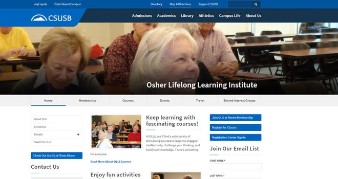 Osher Lifelong Learning Institute offers programs at California State University-Palm Desert Campus.