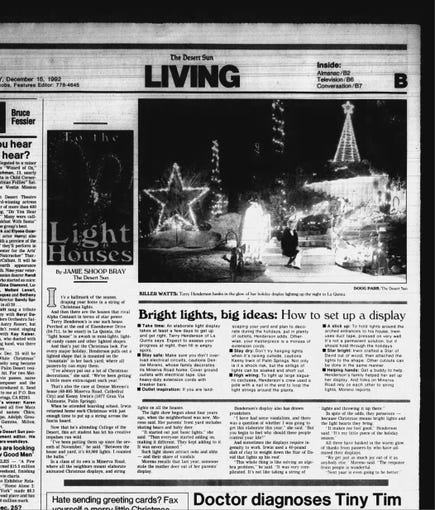 "In 1992, in one of the first articles in The Desert Sun about the display that would become Robolights,  the Irwin home is featured among other Coachella Valley's homes spotlighted for their holiday decorations and displays. At that time, the Irwin display had only ""60,000 lights,"" Kenny Irwin Jr.tells the reporter. He also offers tips on how and when is best to hang string lights."