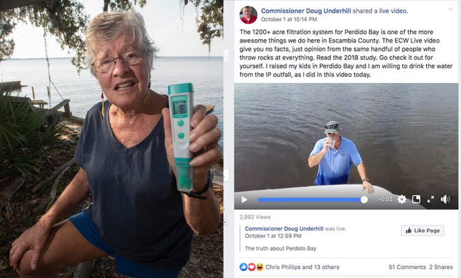 Left: Marine biologist Dr. Jackie Lane shows a pH reading from Perdido Bay. Her tests have indicated abnormally high alkalinity over the last week. Right: County Commissioner Doug Underhill drinks a glass of bay water to argue for the health of the local ecosystem and the stewardship of county officials and the paper mill that is permitted to pump 24 million gallons of pollution per day into Escambia County wetlands.