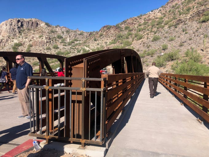 A new pedestrian and vehicle bridge connects the parking lots and allows easier access to the trailhead on Friday, Oct. 4, 2019.