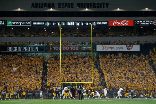 Student section at Sun Devil Stadium during first half of an NCAA college football game between Arizona State and Kent State, Thursday, Aug. 29, 2019, in Tempe, Ariz.