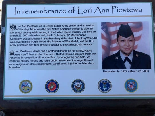 Informational plaques, pictured on Friday, Oct. 4, 2019, were placed at the trailhead in remembrance of Lori Ann Piestewa.