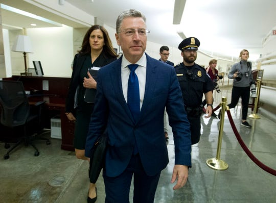 Kurt Volker, a former special envoy to Ukraine, leaves after an Oct. 3 closed-door interview with House investigators as House Democrats proceed with the impeachment investigation of President Donald Trump.