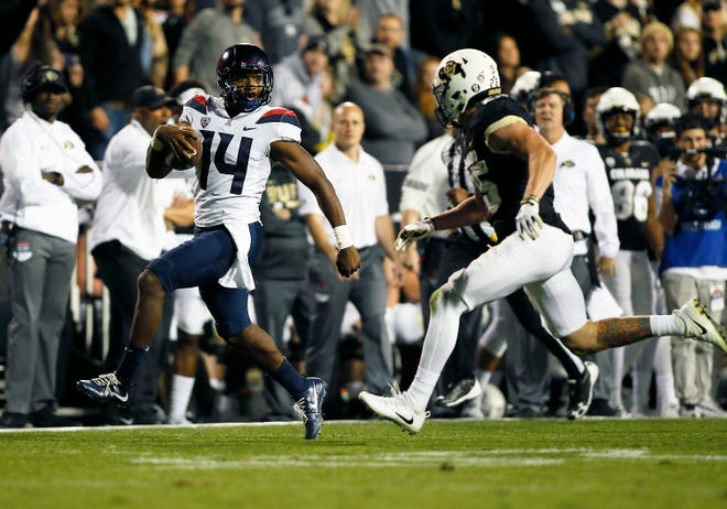 On Oct. 7, 2017, Arizona Wildcats quarterback Khalil Tate rushed for 327 yards, the most by a quarterback in FBS history, and completed 12 of 13 passes for 154 yards.