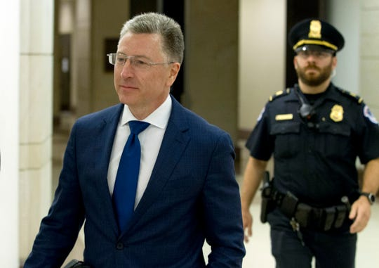 Kurt Volker, a former special envoy to Ukraine, leaves after a closed-door interview with House investigators as House Democrats proceed with the impeachment investigation of President Donald Trump at the Capitol in Washington on Oct. 3, 2019.