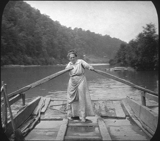 """Woman on Ferry,"" from the exhibit ""Through the Lens of Cecil Sharp,"" on view at Adriance Memorial Library."