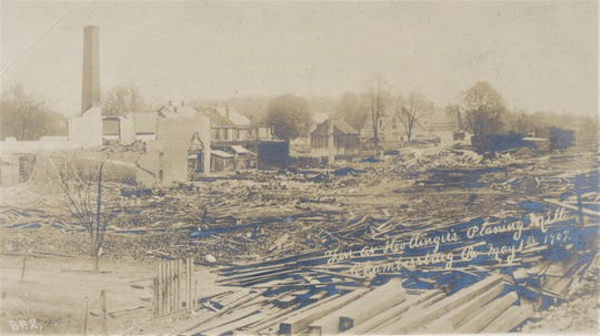 This is what remained of the Hollinger Planning Mill on May 1st, 1907. This picture was taken from a Cumberland Valley Railroad flat car.