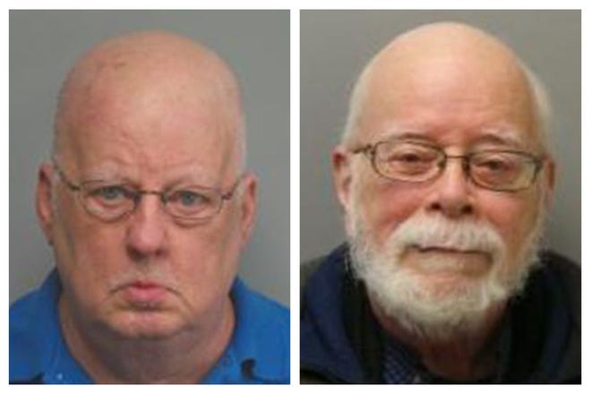 This combination of 2019 and 2017 photos made available by the Missouri State Highway Patrol shows James Alan Funke, left, and Jerome Bernard Robben. Three decades earlier, Funke, a Catholic priest; and Robben, a fellow teacher at a St. Louis Catholic high school, went to prison for sexually abusing male students together. Funke, released in 1995, was eventually bounced from the priesthood. But years later, the two men joined together again, promoting Robben as the leader of a church of his own making. (Missouri State Highway Patrol via AP)