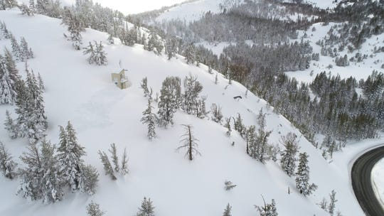 A remotely operated avalanche control system near Mt. Rose Highway is shown in March.. The Nevada Department of Transportation, which operates the propane-powered blasting system, says because of the age of the equipment, department officials are considering alternate control systems for the coming winter.