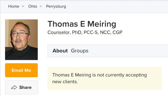This Oct. 1, 2019 image made from an online list of therapists shows an entry for Thomas Meiring.