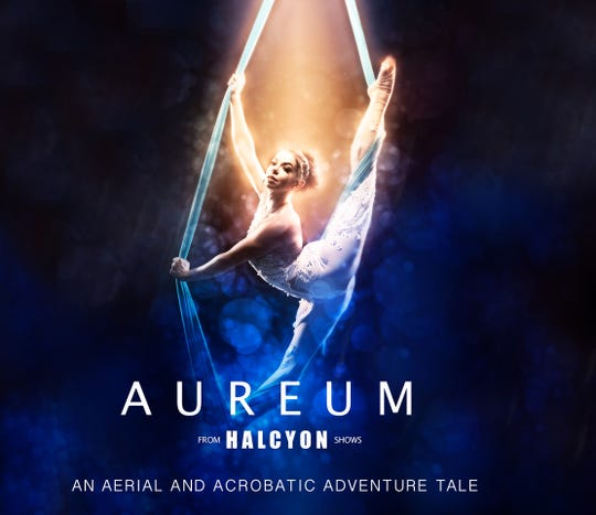 Aureum by Halcyon Shows features aerial routines and acrobatics with original music and choreography.