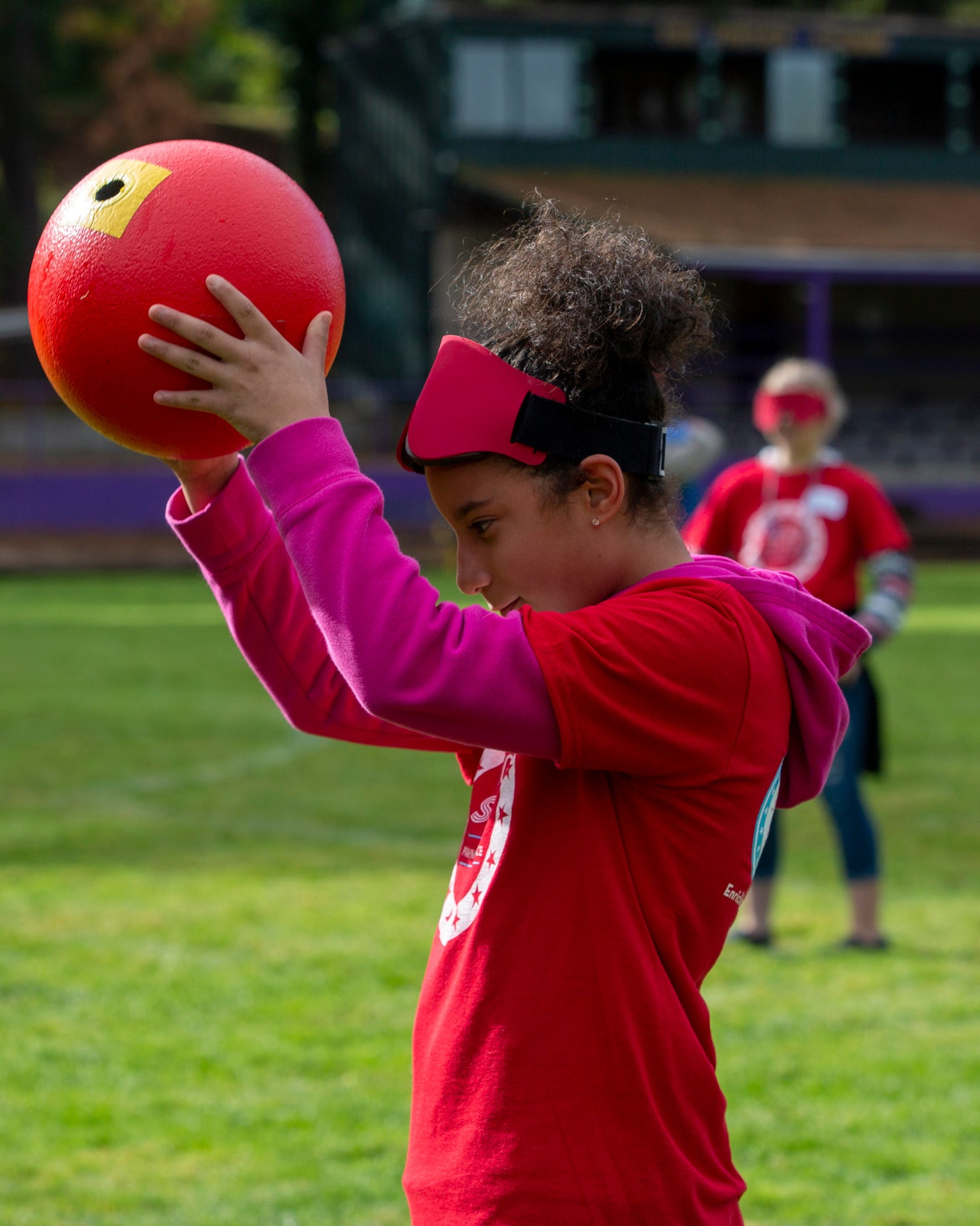 "Erika Corona-Gonazlez, a 6th grader, catches the ball during beep kickball at the Oregon School for the Deaf in Salem, Oct. 4, 2019. NWABA, the Northwest Association for Blind Athletes, hosted a ""Paralympic experience"" for students with visual impairments in the state. After the Oregon School for the Blind closed in 2009, many visually impaired students and their families lost access to state-funded resources, like sports programs. The BVIS (Blind Visually Impaired Student) Fund gives programs like NWABA funds to enhance the lives of low vision/blind children across the state."