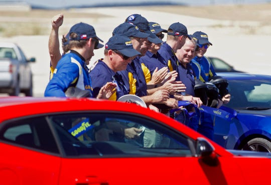 Goodyear employees celebrate the opening of a new facility at the proving grounds site in San Angelo on Wednesday, Oct. 2, 2019.