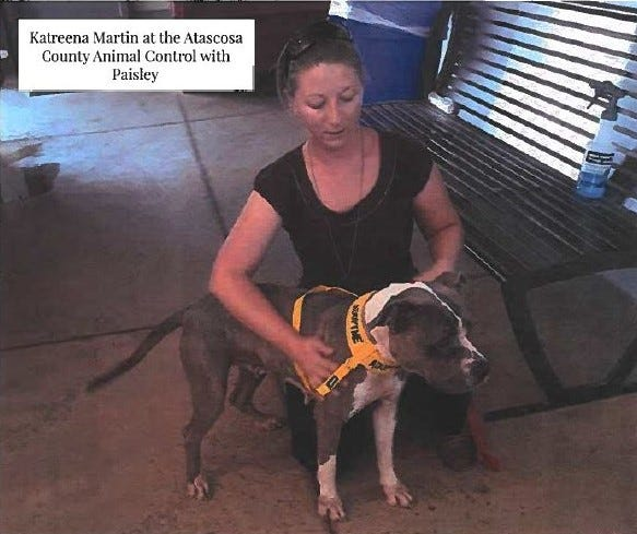 Katreena Martin, 28, of Pleasanton, was arrested Thursday, Oct. 3, on suspicion of multiple counts of animal cruelty to non-livestock animals. The dog, Paisley, was among those dumped in West Texas.