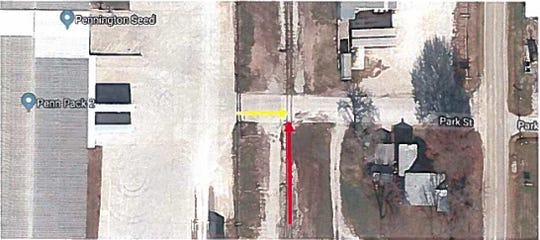 This overhead image, included in federal court filings, shows the road and rail crossing where a Kansas man says his truck was hit by uncontrolled rail cars.