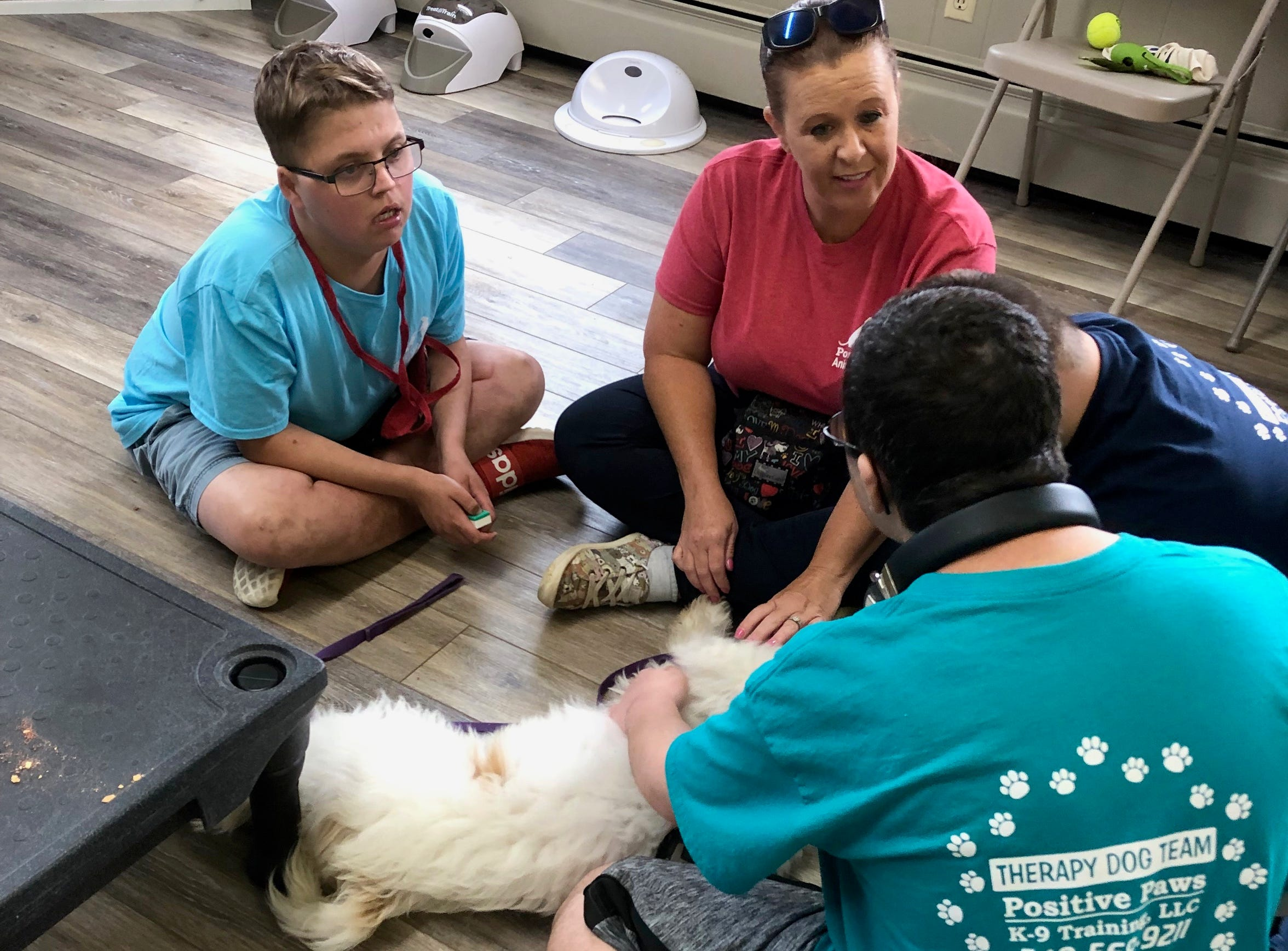 Young adults from the Augusta County Regional Post High School Program work four days a week at God's Canine Angels and Positive Paws in Stuarts Draft, Virginia. While there, they also train with their own service dogs.