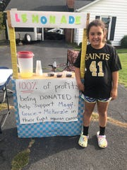 Gracie Knicley got the idea for her lemonade stand when she learned about the Strike Out Cancer tournament.
