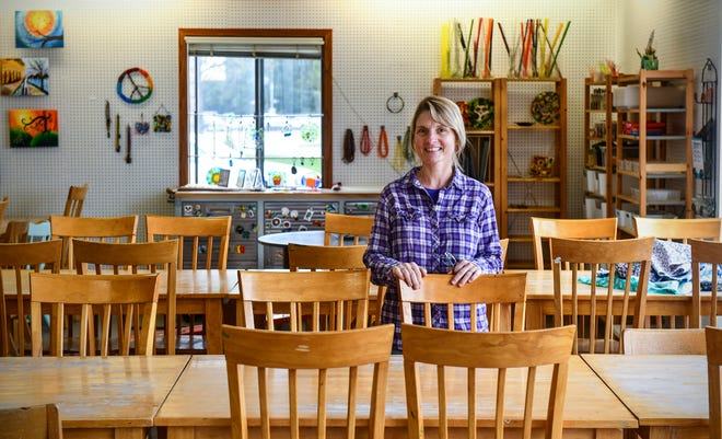 Marnee McCormick stands in the recently-opened new location of Art As You Like It Friday, Oct. 4, 2019, at 630 Lincoln Ave. in St. Cloud.