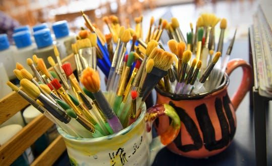 Brushes are ready for use at Art As You Like It Friday, Oct. 4, 2019, in St. Cloud.