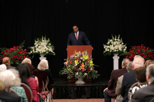 U.S. Representative Al Lawson speaks at the celebration of life service for Donald L. Tucker Friday, Oct. 4, 2019.