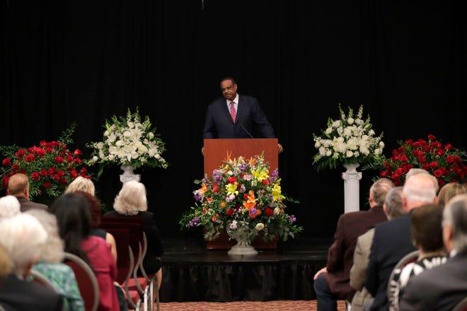 U.S. Representative Al Lawson speaks at the celebration of life service for Donald L. Tucker Friday, Oct. 4, 2019.