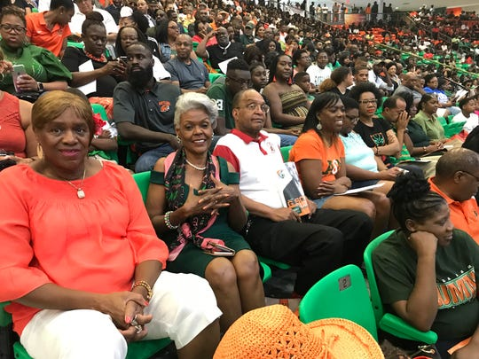 Ruth Stubbs Hobbs and husband, Wilbert Hobbs, center, of Atlanta, return for FAMU's Homecoming Convocation on Friday, Oct. 4, 2019