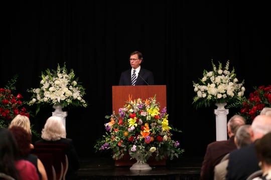 Former Senate President John McKay speaks at the celebration of life service for Donald L. Tucker Friday, Oct. 4, 2019.