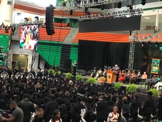 FAMU President Larry Robinson addresses crowd at Friday's Homecoming Convocation. Oct.l 4, 2019