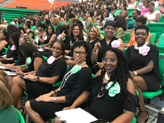 Members of the Alpha Kappa Alpha Sorority, Inc., celebrate at FAMU's Homecoming Convocation on Friday, Oct. 4, 2019