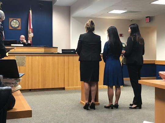 Ruimei Li (blue dress) plead guilty before Circuit Judge Sherwood Bauer
