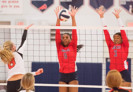 St. Lucie West Centennial plays against Lincoln Park Academy during the high school volleyball match Thursday, Oct. 3, 2019, at St. Lucie West Centennial High School in Port St. Lucie.