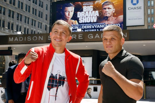 In this Aug. 22, 2019, file photo, Kazakhstan's Gennady Golovkin, left, and Ukraine's Sergiy Derevyanchenko, pose for photos after a news conference at New York's Madison Square Garden. Longtime middleweight champion Golovkin can regain one of his old belts when he faces Derevyanchenko on Saturday night.