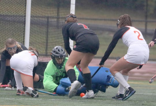 Rye goalie Catia Lai gets in front of the ball while being pressured by Julia Hricay and Violet Hamlin of White Plains during a varsity field hockey game at White Plains High School Oct. 3, 2019. Rye defeated White Plains 3-0.