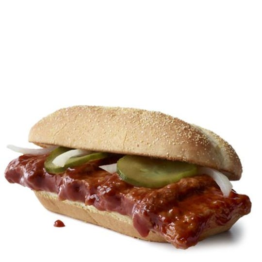 The McRib from McDonald's is available for a limited time only.