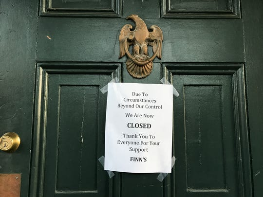 "Finn McCool's Irish Gastropub in Newark announced its closure with this sign taped to its front door: ""Due to circumstances beyond our control, we are now closed. Thank you to everyone for your support."""