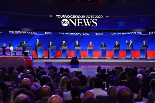 Democratic presidential candidates on the Texas debate stage.