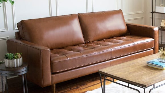 This dreamy leather sofa is finally affordable with this sale.