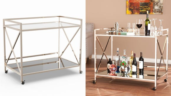 No entertaining space is complete without a shining bar cart.