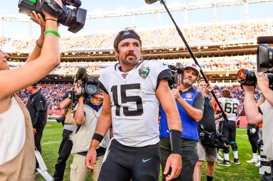 Gardner Minshew of the Jacksonville Jaguars walks on the field after a 26-24 lion over the Denver Broncos at Empower Field at Mile High on September 29, 2019 in Denver, Colorado.