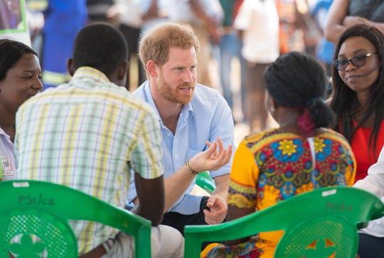 Prince Harry in a discussion with young people during at the Mauwa Health Centre in Blantyre, Malawi, on Oct. 1, 2019.