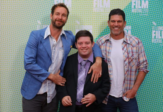 Tyler Nilson, Zack Gottsagen and Michael Schwartz arrive for the UK Premiere of The Peanut Butter Falcon.