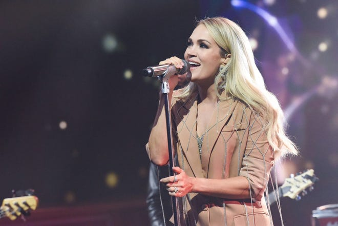 "Carrie Underwood performs on ""The Late Show with Stephen Colbert"" on Oct. 3, 2019."