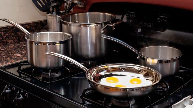 You'll get 2 saucepans, a stockpot, a sauté pan, 2 skillets, and a steamer insert