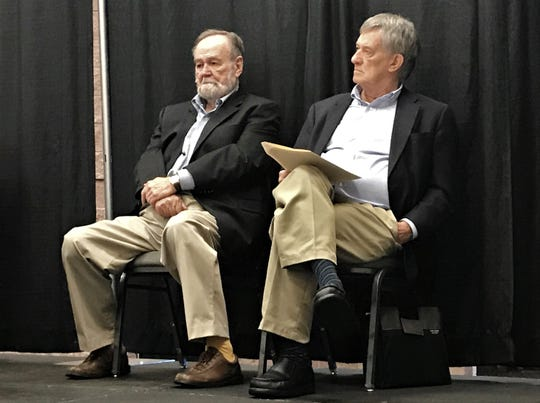 James Ward Lee (left), this year's A.C. Greene Award winner, listens to a speaker during Saturday morning's panel discussion with 2018 winner and West Texas Book Festival founder Glenn Dromgoole. A writer of state history and Texana, Lee was honored at the Boot & Books Luncheon.