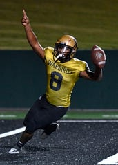 Abilene High running back Phonzo Dotson celebrates his touchdown against L.D. Bell during Friday's homecoming game at Shotwell Stadium Oct. 4, 2019. Final score was 13-0, Abilene High.