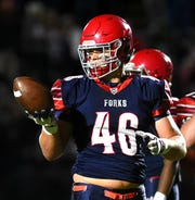 Lucas Scott (46) of Chenango Forks, during the first half of Chenango Forks vs. Chenango Valley, Friday, October 4, 2019.